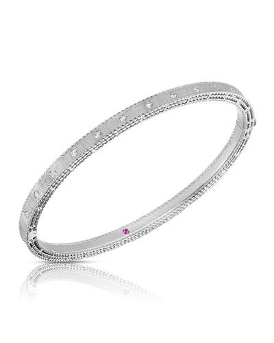 Princess 18k White Gold Diamond Bangle, Petite