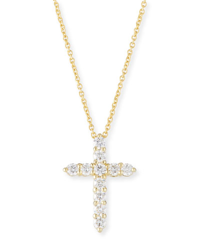 Tiny Treasure 18k Gold Diamond Cross Necklace
