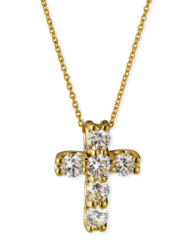 18k Diamond Square-Set Cross Pendant Necklace