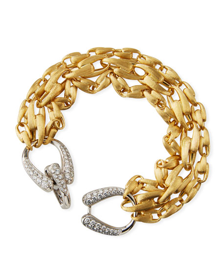 Marco Bicego Lucia 18k 3-Chain Bracelet w/ Diamonds