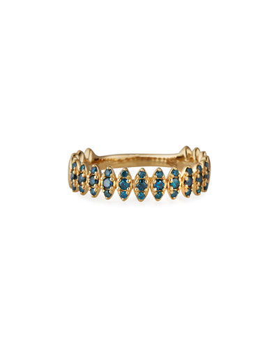 Misfit 14k Yellow Gold Blue Diamond Zigzag Ring, Size 7
