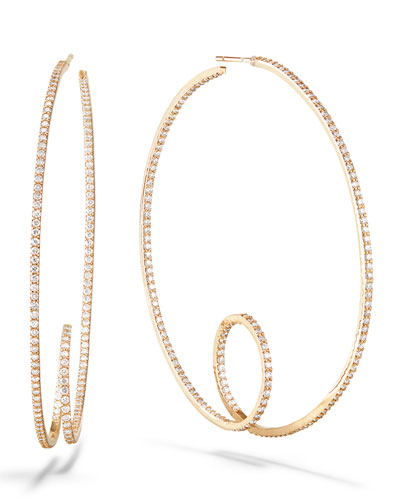 14k Pave Curly-Shaped Hoop Earrings