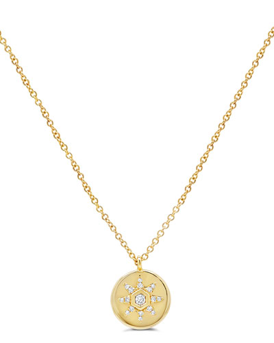 14k Small Diamond Starstruck Medallion Pendant Necklace