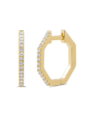 Octagonal 14k Diamond Huggie Hoop Earrings