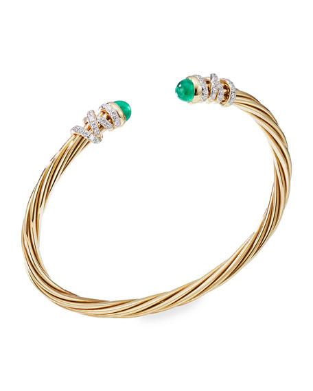 David Yurman Helena 18k Emerald & Diamond Wrapped Bangle, Size S