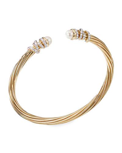 Helena 18k Pearl & Diamond Wrapped Bangle, Size L