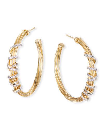 Helena 18k Diamond Wrapped Hoop Earrings, 30mm