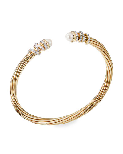 Helena 18k Pearl & Diamond Wrapped Bangle, Size M