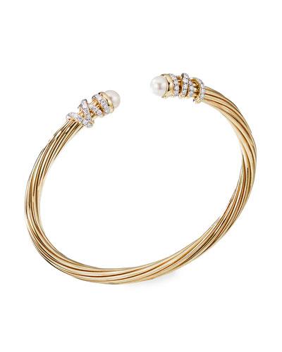 Helena 18k Pearl & Diamond Wrapped Bangle, Size S