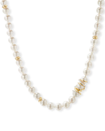 Helena 18k Pearl-Strand Necklace w/ Diamonds, 24