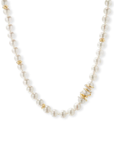 Helena 18k Pearl-Strand Necklace w/ Diamonds, 36
