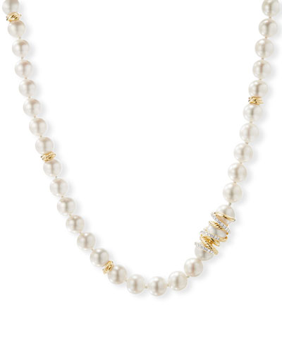 Helena 18k Pearl-Strand Necklace w/ Diamonds, 72