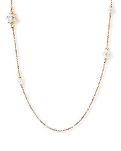 DY Helena 18k Box Chain & Pearl Necklace w/ Diamonds