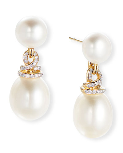 Helena 18k Short Pearl & Diamond Drop Earrings