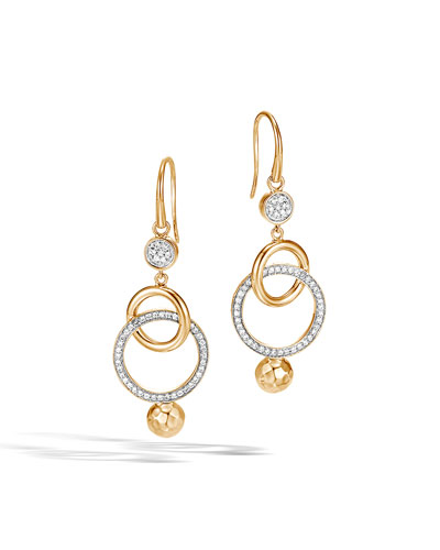 18k Hammered Double-Drop Earrings w/ Diamonds