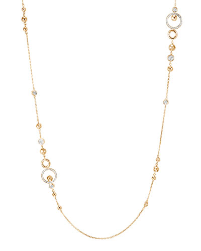 18k Long Hammered Station Necklace w/ Diamonds, 36