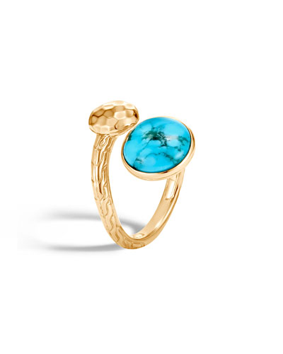 18k Hammered Bypass Ring w/ Turquoise, Size 6