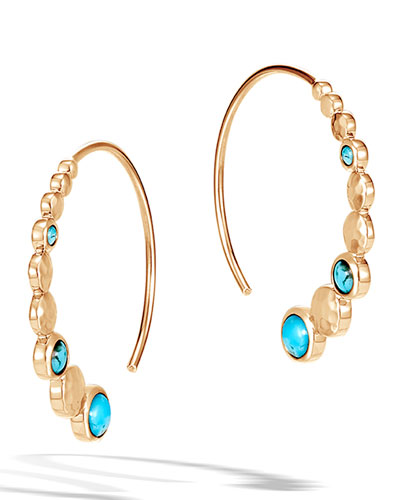 18k Hammered Small Hoop Earrings w/ Turquoise