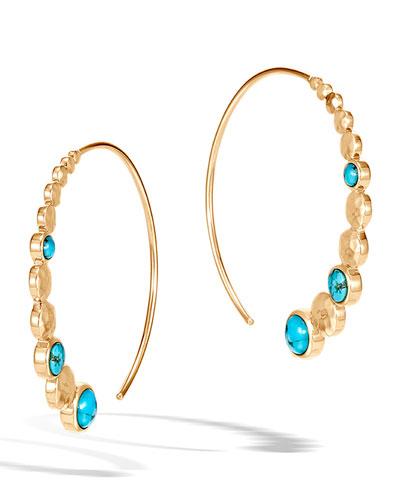 18k Hammered Medium Hoop Earrings w/ Turquoise