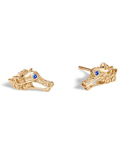 Naga 18k Gold Stud Earrings w/ Sapphires