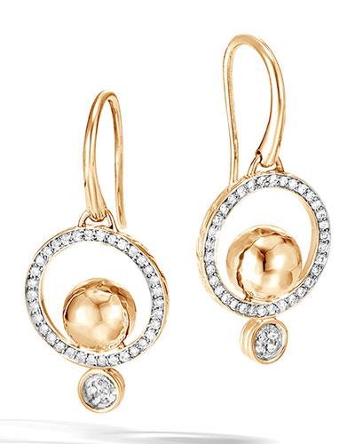 18k Hammered Drop Earrings w/ Diamonds