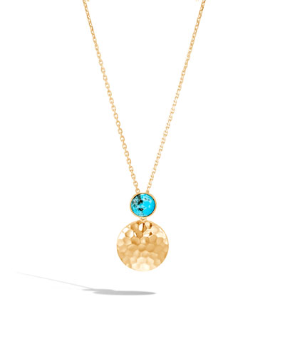 18k Hammered Pendant Necklace w/ Turquoise
