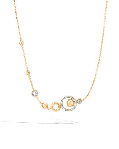 18k Hammered Station Necklace w/ Diamonds