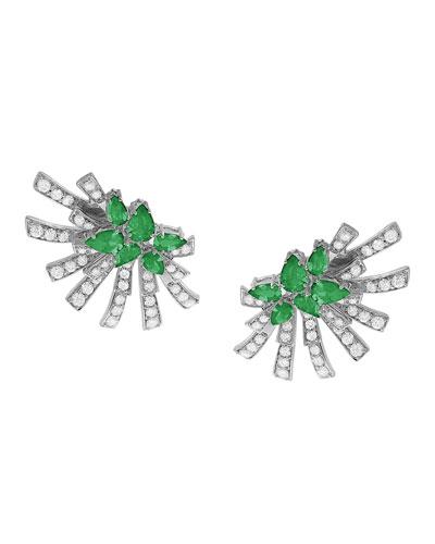 18k White Gold Emerald & Diamond Sunray Earrings