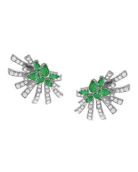 Hueb 18k White Gold Emerald & Diamond Sunray Earrings