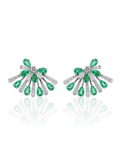 18k White Gold Emerald Pear & Diamond Fan Earrings