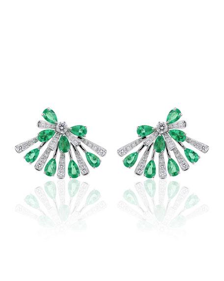 Hueb 18k White Gold Emerald Pear & Diamond Fan Earrings