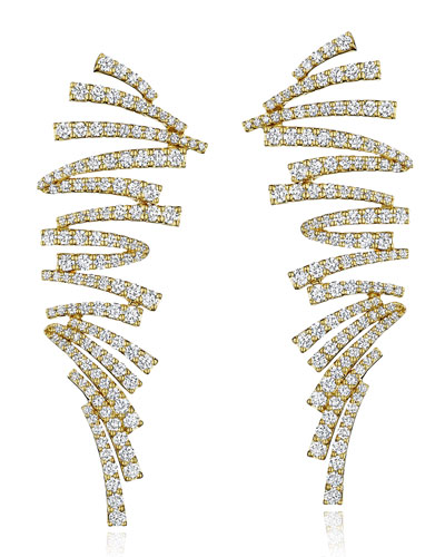 18k Yellow Gold Diamond Zigzag Earrings