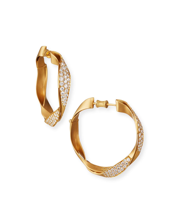18k Twisted Diamond Hoop Earrings