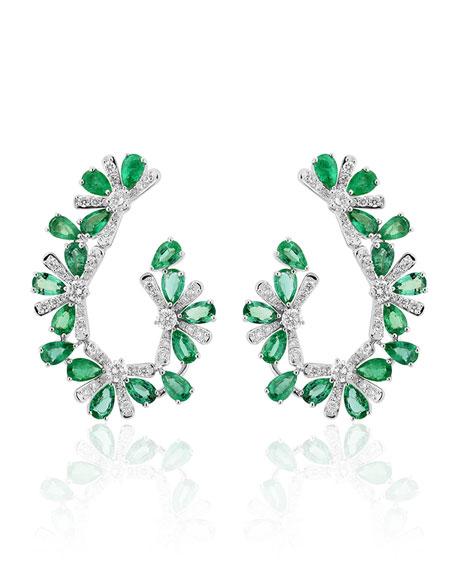 Hueb 18k White Gold Emerald Pear & Diamond Earrings