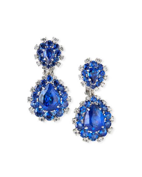 Etho Maria 18k White Gold Sapphire Pear & Diamond Drop Earrings