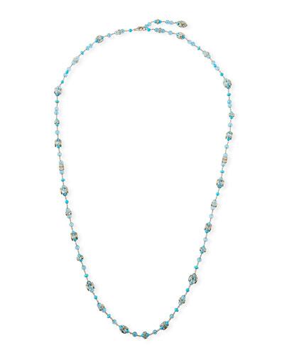 18k White Gold Blue Topaz & Turquoise Necklace