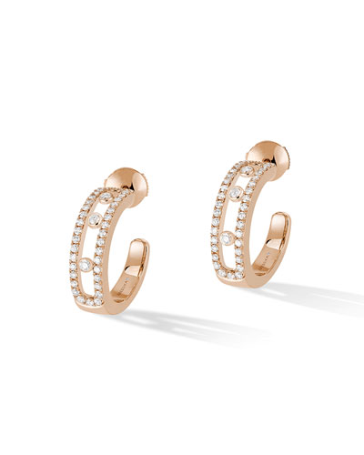 Move 18k Rose Gold Pavé Diamond Hoop Earrings