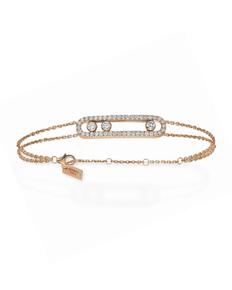 Messika Move Diamond Pave Bracelet, Rose Gold