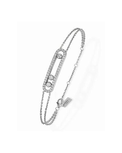 Move Diamond Pave Bracelet, White Gold