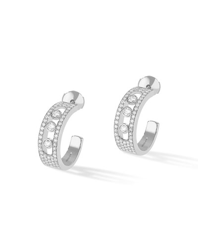 Move Jo Medium 18k White Gold 3-Diamond & Pave Hoop Earrings