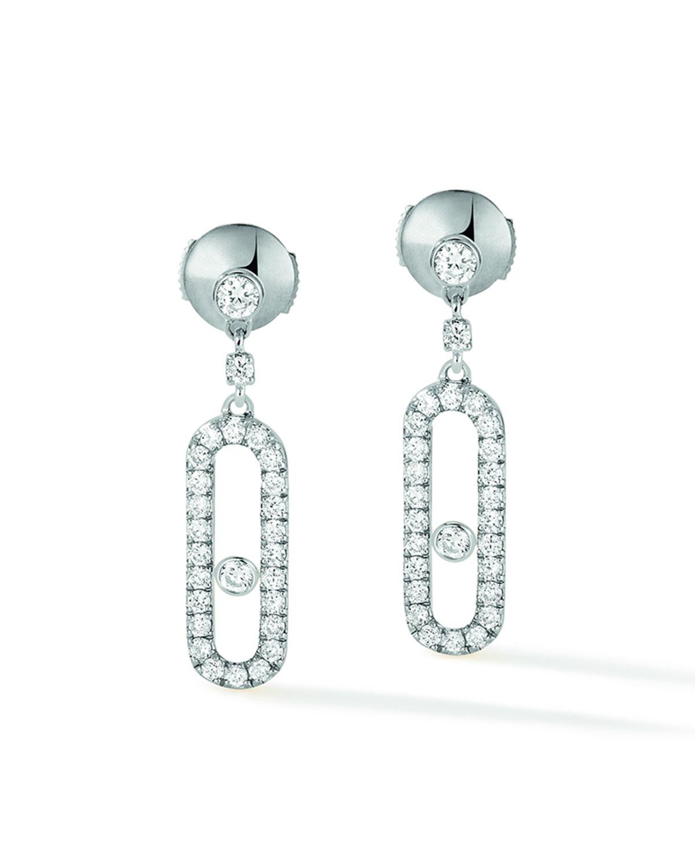 Move Uno 18k White Gold Diamond Hoop Earrings