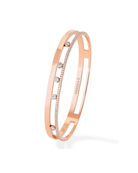 Messika Move Romane 18k Rose Gold 5-Diamond & Pave Bangle, Size L