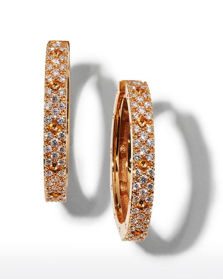 Roberto Coin Pois Mois 18k Rose Gold Diamond Hoop Earrings, 20mm