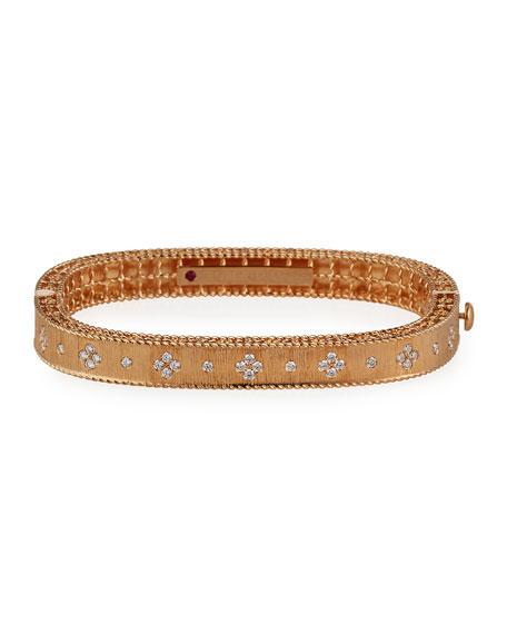 Roberto Coin Princess 18K Rose Gold Hinged Diamond Bangle