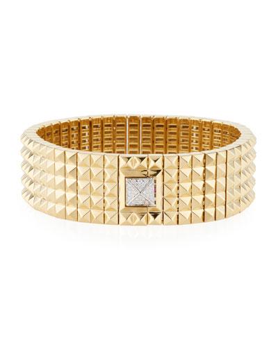Wide 18k Studded Bracelet w/ Diamond Pyramid