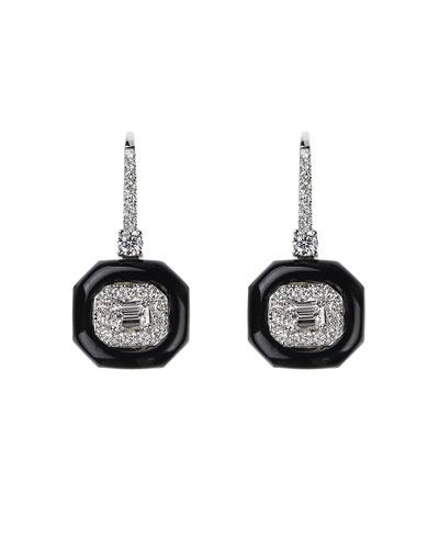 Oui 18k White Gold Diamond & Black Enamel Drop Earrings