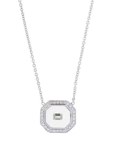 Universe Line 18k White Gold Octagonal Necklace w/ Diamonds & Enamel