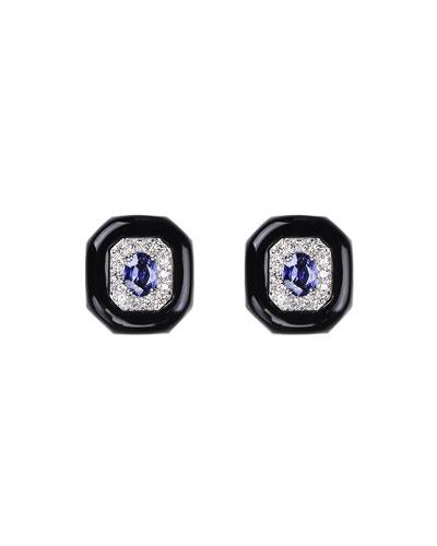 Oui 18k White Gold Black Enamel & Sapphire Button Earrings