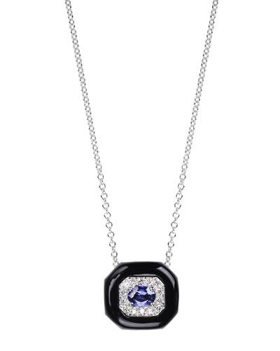 Oui 18k White Gold Black Enamel & Sapphire Pendant Necklace