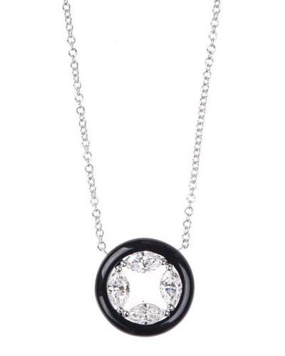 Oui 18k White Gold Circular Enamel Pendant Necklace w/ Diamonds